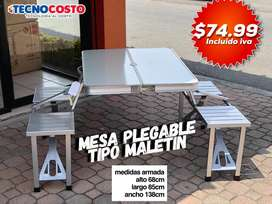 Mesa Plegable Metal Tipo Maletin