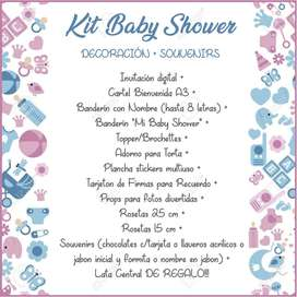 Baby Shower Kit Decoracion Impreso + Souvenirs (x10) Promo!