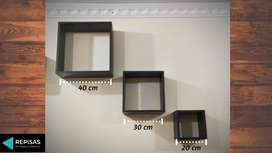 Repisas cuadradas colgantes, diseño minimalista