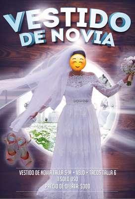 Vestido de Novia + Velo + Tacones