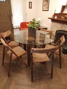 Juego de comedor con 6 sillas plegables