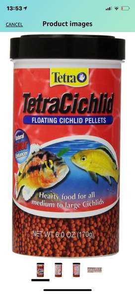 Comida para peces ciclidos y tropicales