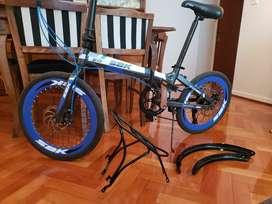 Bicicleta Rodado 20 Plegable 6 Vel Aluminio Sbk Azul Fat Fas