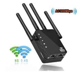 1200Mbps Dual Band WiFi Range Extender,2.4&5GHz WiFi Repeater,2 Ethernet Ports,4 External Antennas Wireless Signal Boost