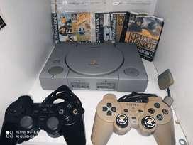PlayStation 1 con 2 controles 5 juegos