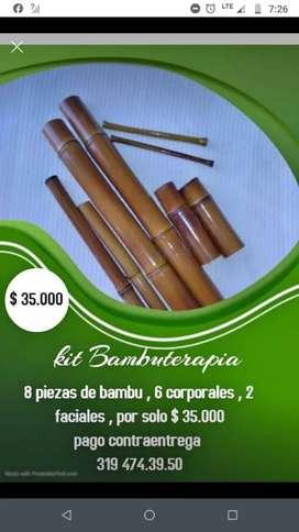 Kit en bambú para masajes
