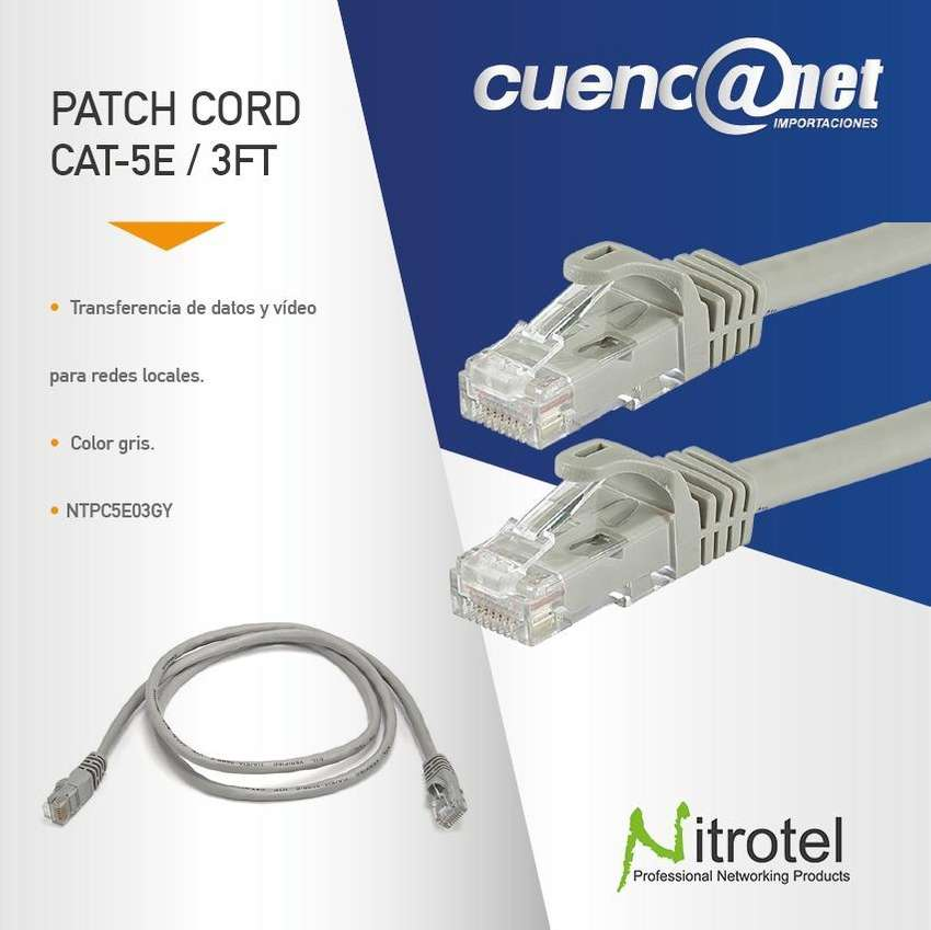 Patch Cord Utp Cat 5e 3ft Gris Ntpc5e03gy Nitrotel 0