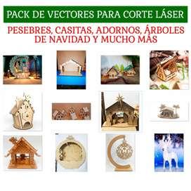 Vectores Corte Láser Navidad Pesebres, Casitas, Árboles, Adornos Navideños y Más