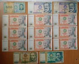 14 Billetes antiguos Intis y Soles de Oro todo  S/.  12. soles