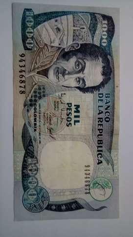 BILLETE DE MIL PESOS COLOMBIA