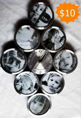 Reloj y porta-retratos