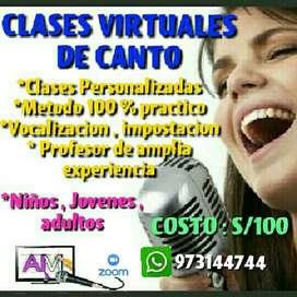 CLASES PARTICULARES DE CANTO ( METODO VIRTUAL)