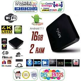 TV BOX 4K Quad Core, D.D 16 GB, RAM 2 GB, Android 7.2, Nuevos, Garantizados...