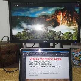 """Vendo Monitor HD ACER HDMI & VGA CASI NUEVO 19.5"""" PANORAMICO"""