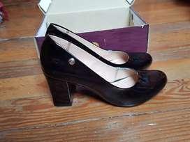 Zapatos Charol Nuevo Negro Talla 37 38 Taco 8