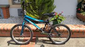 Bicicleta deportiva, color azul metálico y negro
