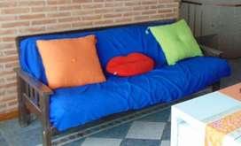 Futon 3 Cuerpos Guatambu Colchon Resortes Cama 2 Plazas