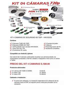 Kit Cámaras Hikvision Hd Y Full Hd