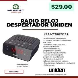 Radio reloj despertador uniden radio Fm puerto d carga usb pantalla led de 0.6 funciona 2 pilas AA