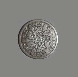 Moneda de Reino Unido, 1928, plata, 6 pence, VG