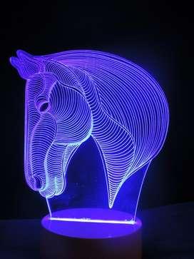 LAMPARAS LED 3D. FUNCIONA CORRIENTE ELÉCTRICA. DISEÑO: CABALLO