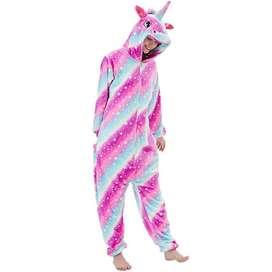 Pijama Kigurumi Unicornio Rosada Adulto Estrellas importada