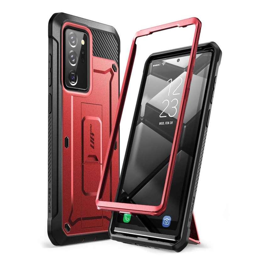 Samsung Note 20 Ultra Proteccion 360 Grados con Clip para cinturon y kickstand verde Rojo