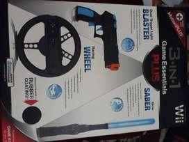 Vendo o cambio accesorios de juego 3 en 1 GAME ESSENTIALS PLUS. Viene con racing wheel, glow y dual trigger light blast