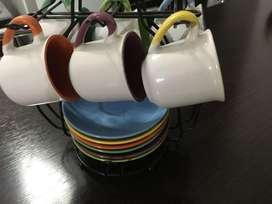 Vendo Juego de 6 Tazas p/Cafe Multicolor