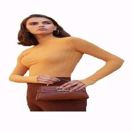 Blusa tejido  canalé de cuello alto con envio gratuito