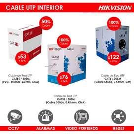 Bobina de Cable Red UTP, Instalación de Cámaras de Seguridad , Video Porteros, Alarmas , Redes , Incendio Cat5e y Cat6