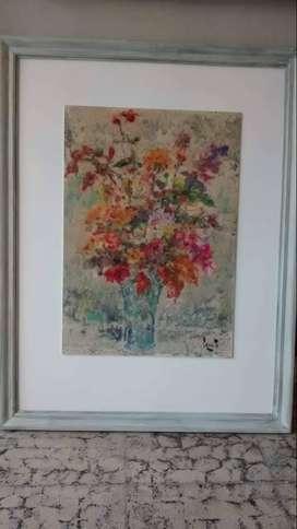 acuarela de cerrito - jarrón con flores