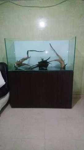 Acuario vidrio templado con mueble