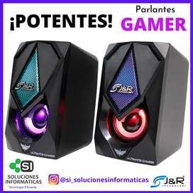 PARLANTES GAMER!! - POTENTES - SONIDO DE CALIDA - ILUMINACION LED - CONEXION USB - ENVIO GRATIS