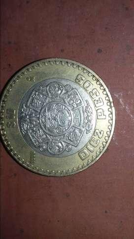 Moneda de 10 pesos mejicanos 1998.