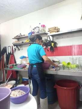 Ayudante de cocina (MUJER) para fin de semana con experiencia enviar hoja de vida(viva al sur de Quito)
