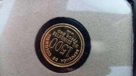 Moneda conmemorativa de oro 1.500 pesos 1923 1973 ley 0.900 del Banco de la República de Colombia