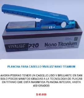 Plancha para alizar pelo de cabello nano titanium vivalizz alisar planchar