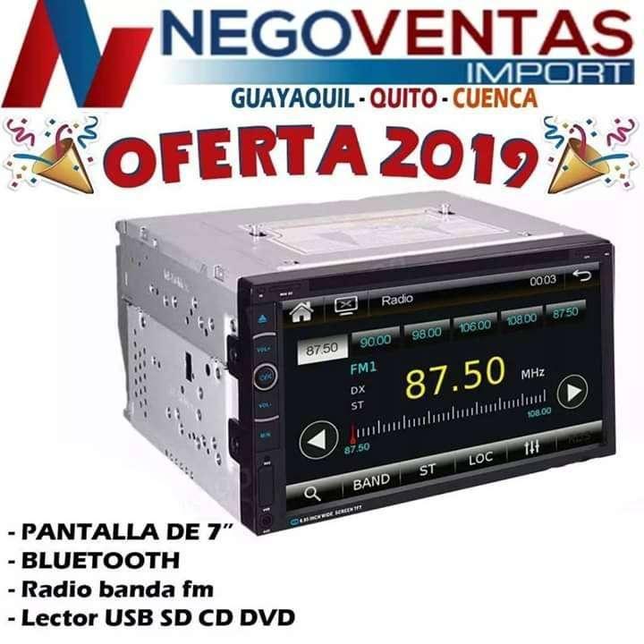 RADIO PANTALLA DOBLE DIN CD DVD BLUETOOTH USB SD AUX FM PARA CARROS 0