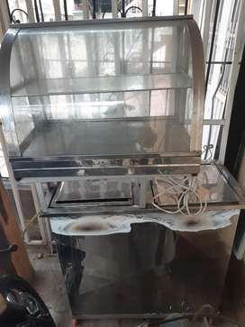 Vendo fritador de dos puestos con vitrina de calor