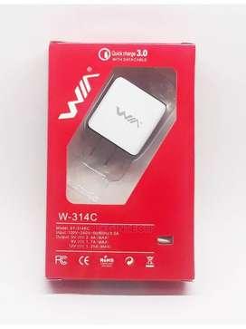 Cargador WIA W -314C Carga Rápida 3.0 Micro-Blanco V8