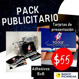 Pack Publicitario: Tarjetas de presentación y Adhesivos 6x6cm