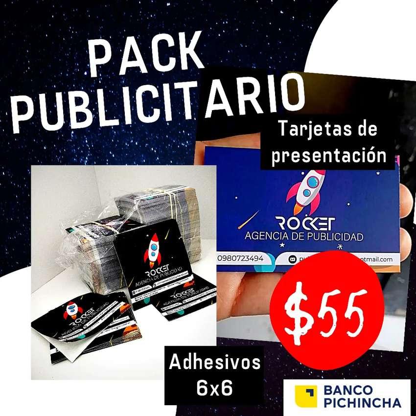 Pack Publicitario: Tarjetas de presentación y Adhesivos 6x6cm 0
