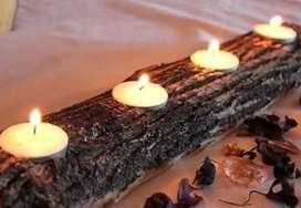 Centros de mesa de palo santo y velas