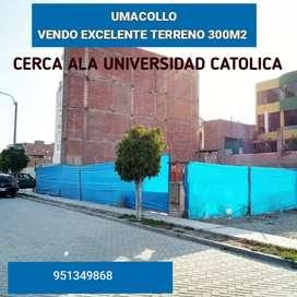 VENDO EXCELENTE TERRENO CERCA ALA UNIVERSIDAD CATÓLICA 300M2 URB PRIVADA