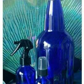 Botellas Azules de Vidrio