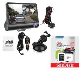 Triple camara Interior Exterior Y Reversa + Micro SD Sandisk de 32gb