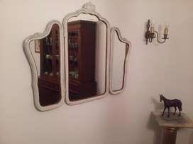 espejo frances  antiguo con marco tres hojas