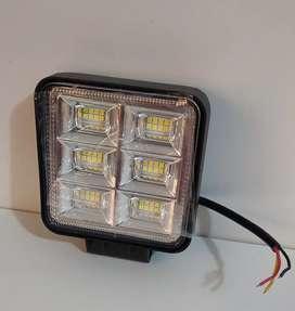Luz led cuadrada 4 pulgadas 128w blanca fija y flash full led lupa