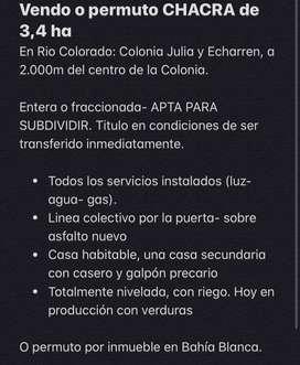 VENDO O PERMUTO CHACRA EN RIO COLORADO: colonia Julia y Echarren